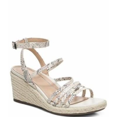 バイオニック レディース サンダル シューズ Ayda Snake Embossed Leather Ankle Strap Wedge Espadrille Sandals Cream