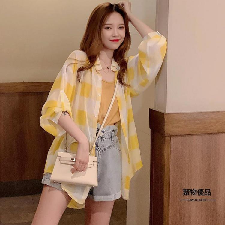 夏季格子襯衫女長袖寬鬆上衣韓版百搭薄款雪紡防曬衣【聚物優品】