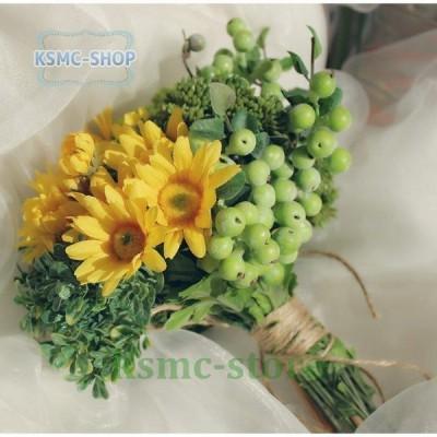ウエディングブーケ ひまわり ブートニア 安い 結婚式 ブーケ 花嫁 アレンジメント 披露宴 ウェディング用 造花 ブライダルブーケ 手作り