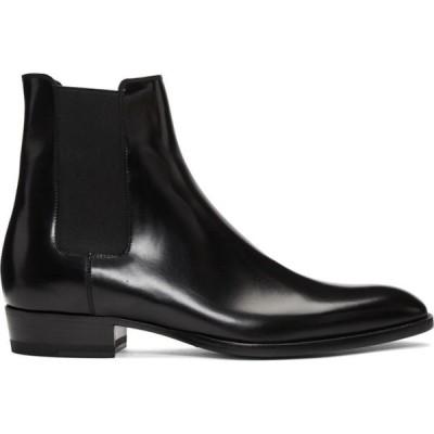 イヴ サンローラン Saint Laurent メンズ ブーツ チェルシーブーツ シューズ・靴 black wyatt chelsea boots Black