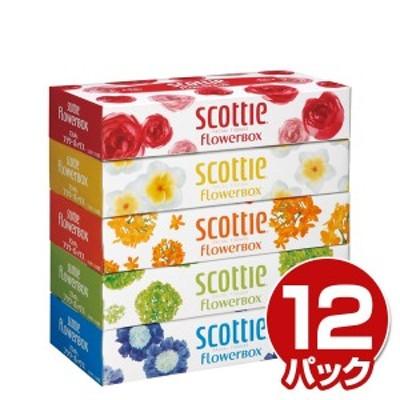 スコッティ (SCOTTIE) ティッシュペーパー フラワーボックス 320枚(160組) 5箱×12パック(60箱)  41269  ティシュペーパー まとめ買い ケ