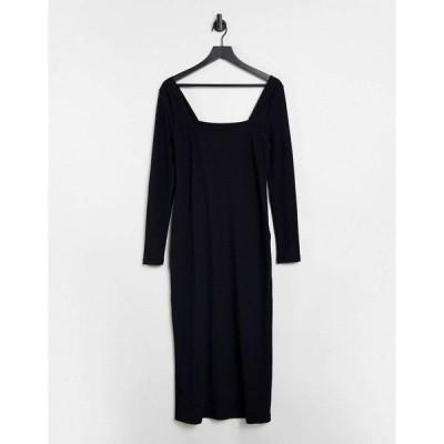 エイソス ミディドレス レディース ASOS DESIGN square neck ribbed midi dress with split in black エイソス ASOS ブラック 黒