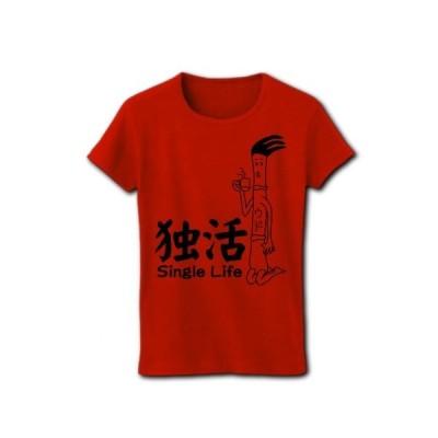 独活(ウド)のシングルライフ リブクルーネックTシャツ(レッド)