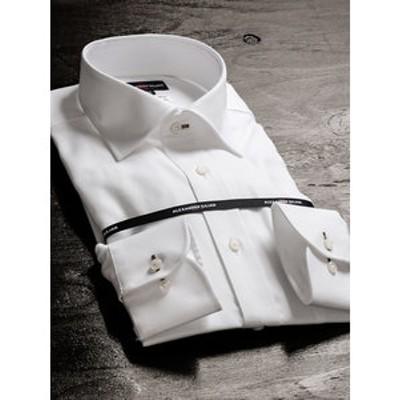 形態安定80双レギュラーフィットワイドカラー長袖ビジネスドレスシャツ