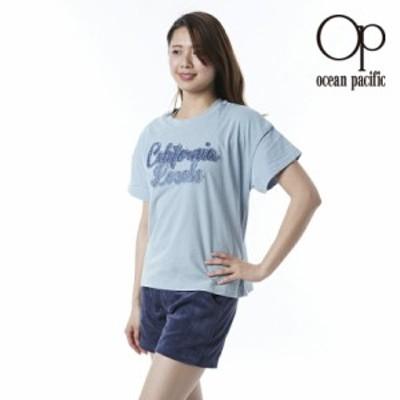 オーシャンパシフィック Ocean Pacific OP 日本正規品 レディース 半袖 Tシャツ デニム ロゴ 切り取り 可愛い Tシャツ 印象的 綿 ブルー