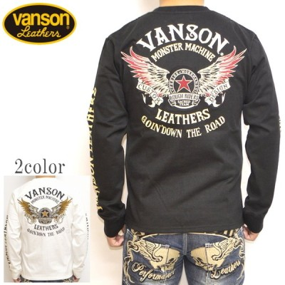 バンソン VANSON NVLT-2102 天竺 長袖Tシャツ ロンT フライングスター バイク バイカー トップス メンズ