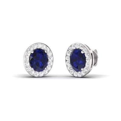 Diamondere Natural and Certified Oval Cut Blue Sapphire Halo Diamond Earrings in 14K White Gold | 1.10 Carat Earrings for Women【並行輸