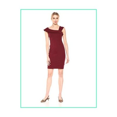 Lark & Ro Women's Asymmetrical Flounce Neckline Sheath Dress, Deep Wine, 10並行輸入品