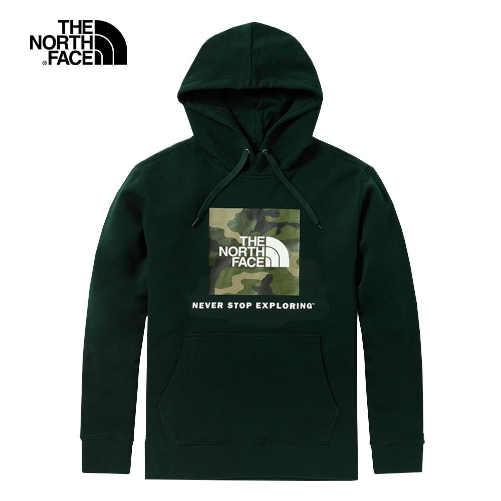 The North Face北面男女款深綠色迷彩LOGO印花連帽T恤|5JVLHDB