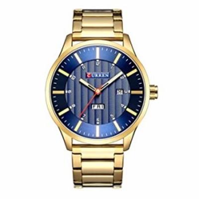 Tayhot Men Gold Quartz Stainless Steel Wrist Watch,Blue Dial Luxury Analog Gold Steel Classic Simple Business Date Calendar Men'