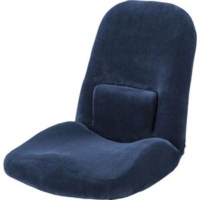 シンプル 座椅子/フロアチェア 【ネイビー】 幅47cm ポリエステル 『腰サポートリクライナー』 〔リビング ダイニング〕【代引不可】【同梱不可】[▲][TP]