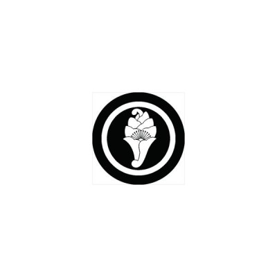 家紋シール 丸に一つ花杏葉紋 直径24cm 丸型 白紋 KS24M-0417W