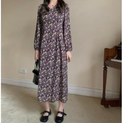 韓国 ファッション レディース ワンピース ロング 花柄 Vネック フレア 長袖 ゆったり レトロ ヴィンテージ 大人可愛い