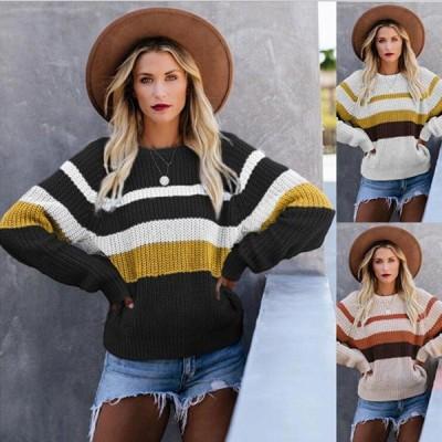 レディースファッション 女性らしい 長袖ニット 通勤 セーター 女性セーター 丸首 ニットセーター   チューブ.セーター