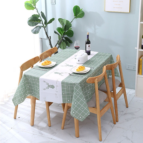Qmishop 桌布 桌巾 小 PVC 餐巾 長桌巾 餐墊 野餐墊 桌墊 防水布 防油 撞色印花桌布137*90cm 【J427】