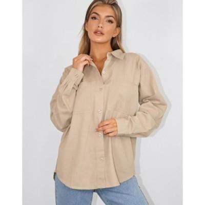 ミスガイデッド レディース シャツ トップス Missguided oversized boyfriend shirt in beige