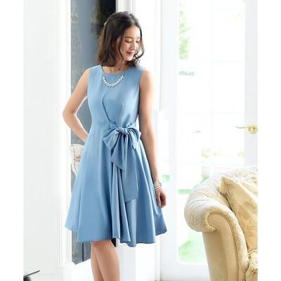 ドレス サイドリボンフレアーワンピース/結婚式・お呼ばれ・二次会・同窓会・成人式対応フォーマルパーティードレス