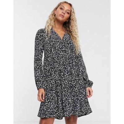オンリー レディース ワンピース トップス Only mini smock dress in mono ditsy print