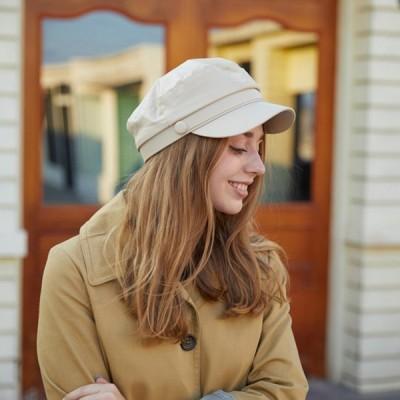 レディースレザー帽子ベレー帽合皮レザーハットキャスケットマリンキャップ帽子秋冬黒キャメルオシャレ