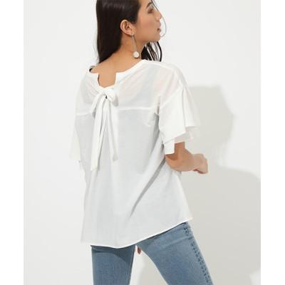tシャツ Tシャツ BACK RIBBON FRILL BLOUSE/バックリボンフリルブラウス