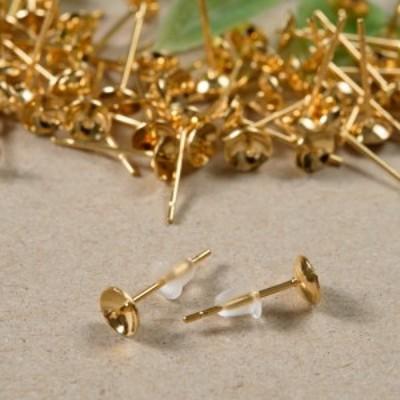 【サージカルステンレス 316L 】5mm 芯立 台座カップ ピアス ゴールド×シリコンキャッチセット 20個 (10ペア) 金属アレルギー対策 ステ