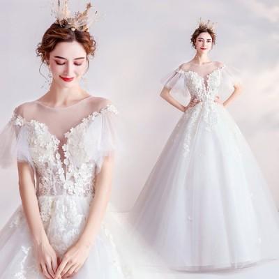ウェディングドレス シャンペン レース 結婚式 花嫁 ロングドレス ハートカット ブライダル 二次会 パーティードレス 披露宴 プリンセスドレス 大きいサイズ