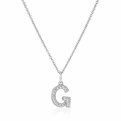 """Platinum Plated Sterling Silver """"G"""" Initial Pendant Necklace set with Swarovski Zirconia (.32 cttw)"""