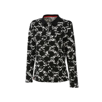 【ランバンスポール】 ジップアップポロシャツ レディース ブラック系 40 LANVIN SPORT