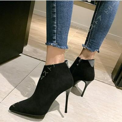 バックファスナー ブーティー ハイヒール 歩きやすい 黒 靴 疲れにくい ショートブーツ アンクルシューズ 美脚ブーツ レディース 大きいサイズ 小さいサイズ
