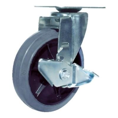 ユーエイ 産業用キャスターS付自在車 150径ゴム車輪 RJ2F150NWRSG [RJ2F-150NWRS-G][r20][s9-810]