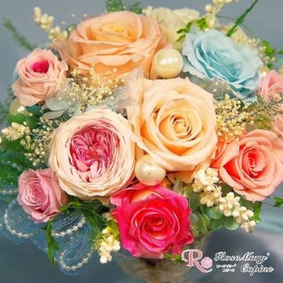 母の日 プリザーブドフラワー  結婚祝い 還暦祝い 誕生日 記念日 お祝い 贈り物 プレゼント ピンク ミニアレンジ p-031