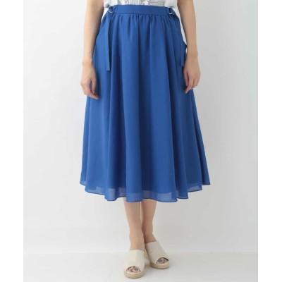 (GEORGES RECH/ジョルジュ レッシュ)【洗濯機OK】サイドベルトボリュームスカート/レディース ブルー