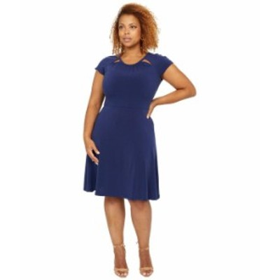 マイケルコース レディース ワンピース トップス Solid Short Sleeve Fit-and-Flare Dress True Navy