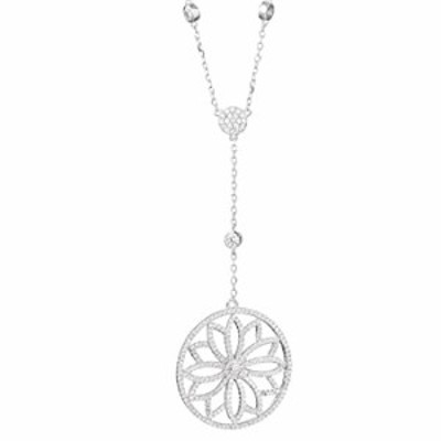 Alexandra Plata Necklace of 0925 Silver with Shining Crystal Pave Forms a Delicate Rosette Flower