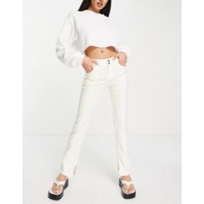 エイソス レディース カジュアルパンツ ボトムス ASOS DESIGN bengaline low rise slit hem pants in cream Cream