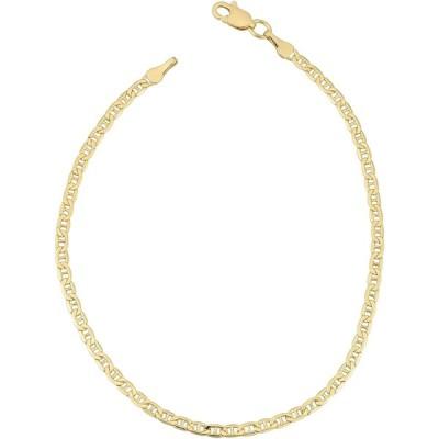 Kooljewelry 18k Yellow Gold 2.4 mm Semi Solid Mariner Link Bracelet (7