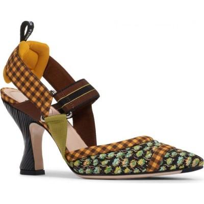 フェンディ FENDI レディース パンプス シューズ・靴 Colibri Pointed Toe Slingback Pump Green Floral/Yellow Gingham