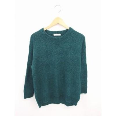 【中古】ローリーズファーム LOWRYS FARM ニット セーター 無地 シンプル ウール混 長袖 M 緑 グリーン /TT9 レディース