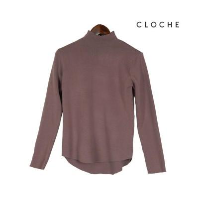 CLOCHE(クロッシェ) ボトルネックプルオーバー 伸びがよく着やすい サロペットのインナーに 優秀インナー ハイネックインナー プルオーバー
