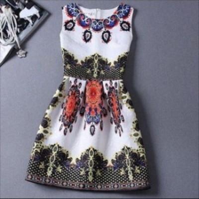 ラウンドネック 高級感 華やか マルチカラー プリント柄 高級感 スリムフィット Aライン スタイルアップ 綺麗め ノースリーブ ドレス