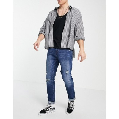 プルアンドベアー メンズ デニムパンツ ボトムス Pull&Bear slim fit jeans in dark blue with rips