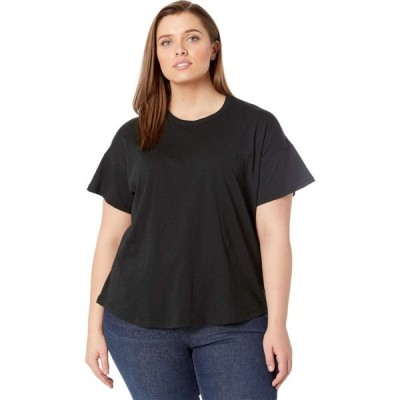 メイドウェル Madewell レディース Tシャツ 大きいサイズ トップス Plus Size Whisper Cotton Rib Crew Neck Tee True Black