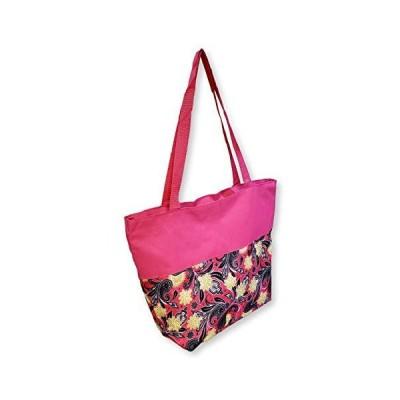 Women Teen Fashion Print Lined Top Zipper Tote Bag Handbag with Solid Top -