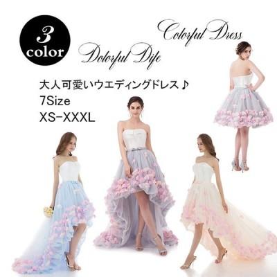 ウェディングドレス パーティードレス ロングドレス wedding dress 花嫁 結婚式 安い 大きいサイズ 柔らかレース ホワイト 白