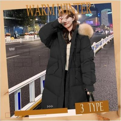 韓国風 厚手 防寒対策 着痩せ おしゃれ 全3色 ファション ゆったり ロング丈 カジュアル 中綿コート アウター フード付き