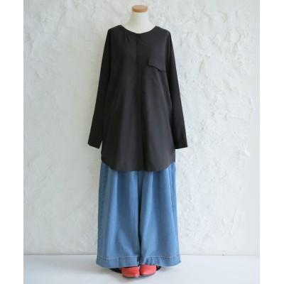 【オシャレウォーカー】 『nOrベルト付きマオカラーロングシャツ』 レディース ブラック 2(LL~3L) osharewalker