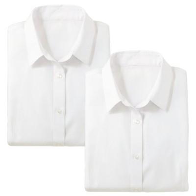 形態安定2枚組レギュラーカラーシャツ(長袖)(洗濯機OK)/ホワイト(ホワイト+ホワイト)/LL