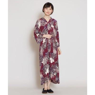 【カヤ】こぼれ菊 着物風ワンピース パープル系その他