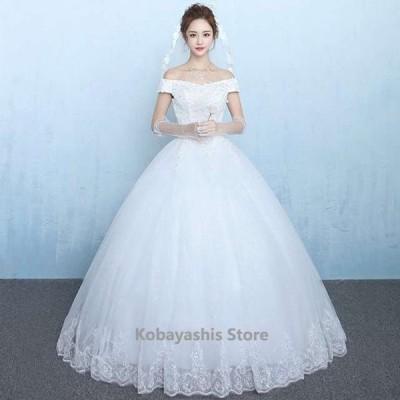 ボートネックウェディングドレス結婚式花嫁ブライダルドレスAラインホワイトドレス3点セットパニエ+グローブ+ベール