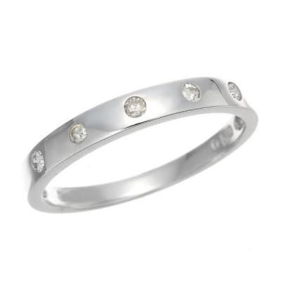 WGダイヤモンドドット 水玉 細身リング 指輪 4月誕生石